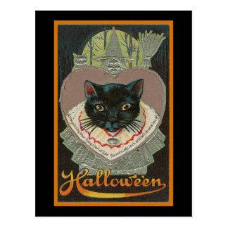 Gato negro de Halloween del vintage Postales