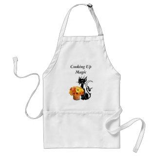 Gato negro de Halloween Delantal