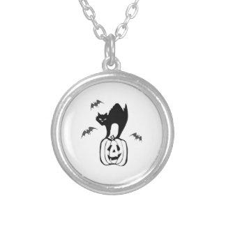 Gato negro de Halloween en la calabaza Joyería