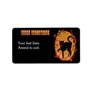 gato negro de Halloween Etiqueta De Dirección