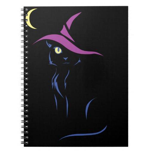 Gato negro de Halloween Libretas Espirales