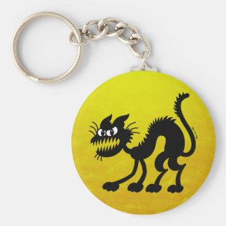 Gato negro de Halloween Llavero Redondo Tipo Pin