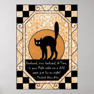 Gato negro de Halloween Póster