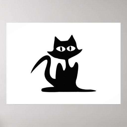Gato negro de Halloween Poster