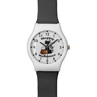 Gato negro de Halloween Reloj De Mano