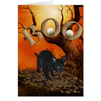 Gato negro de Halloween Tarjeta De Felicitación