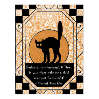 Gato negro de Halloween Postales