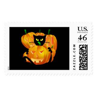Gato negro de Halloween y tarjeta de las calabazas