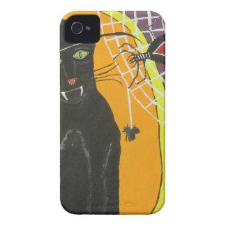 Gato negro de IMG_4104.JPG en un gorra iPhone 4 Carcasas