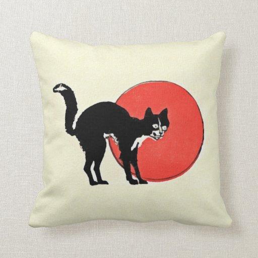 Gato negro de la acuarela de Halloween Cojines