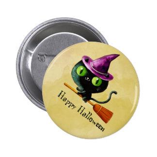 Gato negro de la bruja de Halloween Pin Redondo 5 Cm