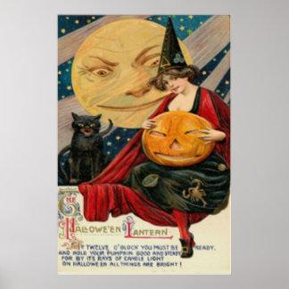 Gato negro de la bruja de la linterna de Jack O de Póster