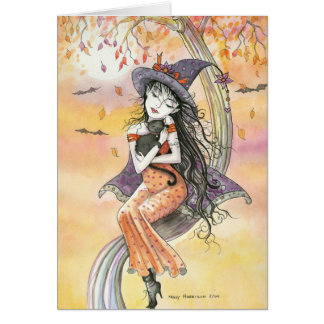 Gato negro de la bruja de la tarjeta de Halloween