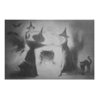 Gato negro de la bruja del palo de la caldera arte fotográfico