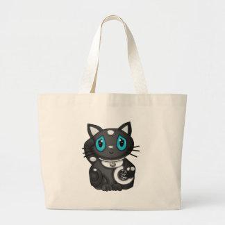Gato negro de la buena suerte de Maneki Neko Bekon Bolsas