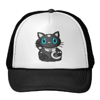 Gato negro de la buena suerte de Maneki Neko Bekon Gorro De Camionero