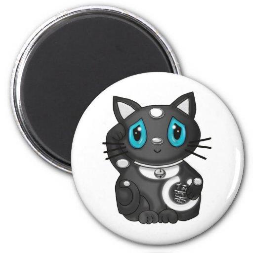 Gato negro de la buena suerte de Maneki Neko Bekon Imanes De Nevera