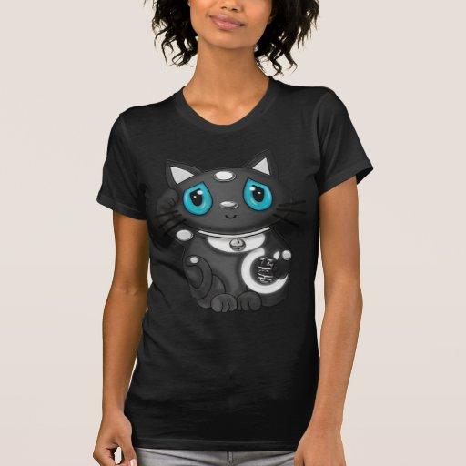 Gato negro de la buena suerte de Maneki Neko Camisas