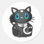 Gato negro de la buena suerte de Maneki Neko Etiquetas Redondas