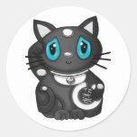 Gato negro de la buena suerte de Maneki Neko Pegatinas Redondas
