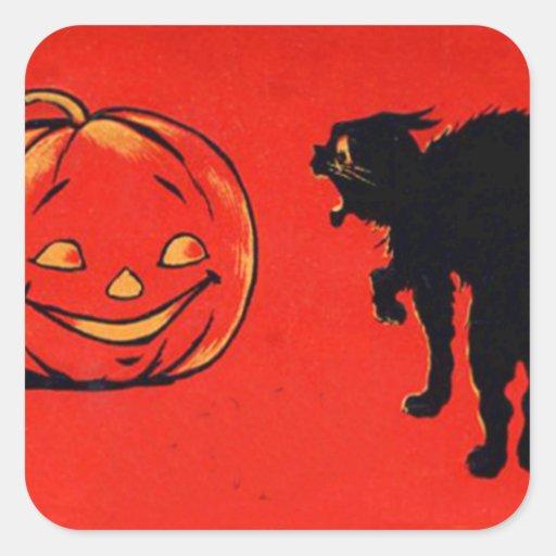 Gato negro de la calabaza de la linterna de Jack O Calcomanía Cuadradas Personalizada