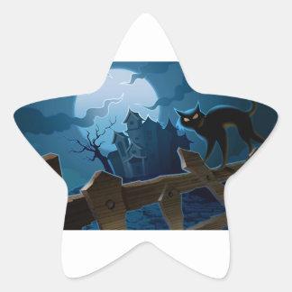 Gato negro de la casa encantada de Halloween Calcomanías Forma De Estrellas