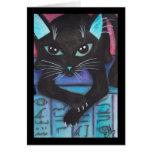 Gato negro de la estopa egipcia tarjeta de felicitación