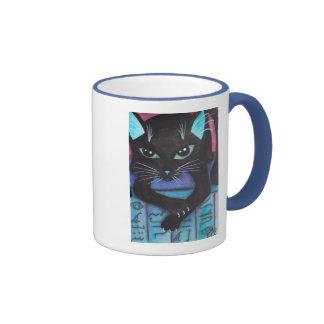 Gato negro de la estopa egipcia tazas de café