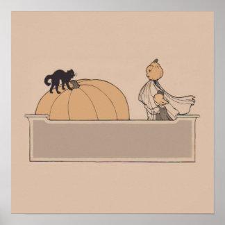 Gato negro de la linterna de Jack O de la calabaza Poster