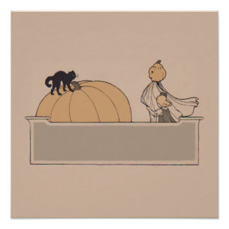 Gato negro de la linterna de Jack O de la calabaza Póster