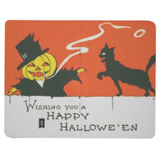 Gato negro de la linterna de Jack O del Cuaderno Grapado