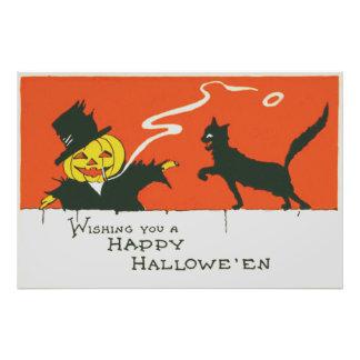 Gato negro de la linterna de Jack O del Fotografías