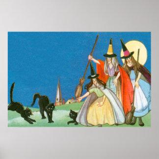 Gato negro de la Luna Llena de la bruja Póster