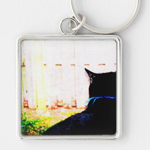 Gato negro de la parte posterior que mira hacia fu llavero cuadrado plateado