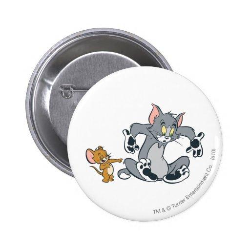 Gato negro de la pata de Tom y Jerry Pin Redondo De 2 Pulgadas