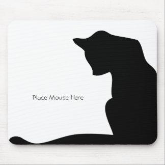 Gato negro de la silueta - coloque el ratón aquí alfombrillas de ratones