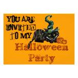 Gato negro de las brujas de las invitaciones del f invitaciones personalizada