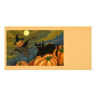 Gato negro de las calabazas del feliz Halloween Tarjetas Fotograficas