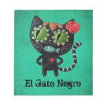 Gato negro de los muertos bloc de papel