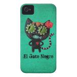 Gato negro de los muertos Case-Mate iPhone 4 carcasas