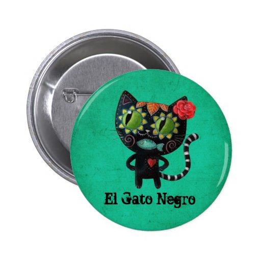 Gato negro de los muertos pin