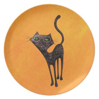Gato negro de los muertos plato de cena