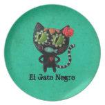 Gato negro de los muertos plato de comida
