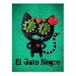 Gato negro de los muertos postales