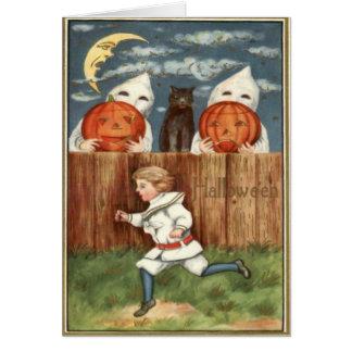 Gato negro de los niños de la linterna de Jack O Tarjeta De Felicitación