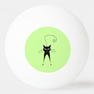 Gato negro de moda divertido caprichoso pelota de tenis de mesa