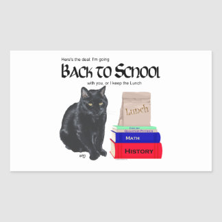 Gato negro de nuevo a escuela rectangular pegatina