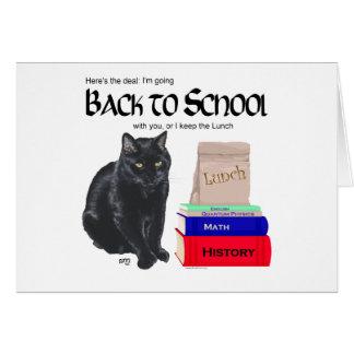 Gato negro de nuevo a escuela tarjeta de felicitación
