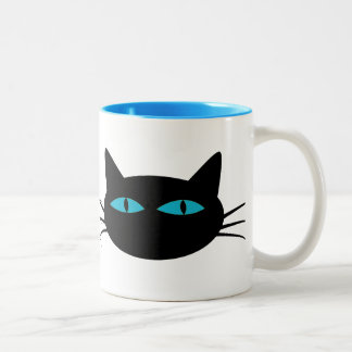 Gato negro de ojos azules taza de dos tonos
