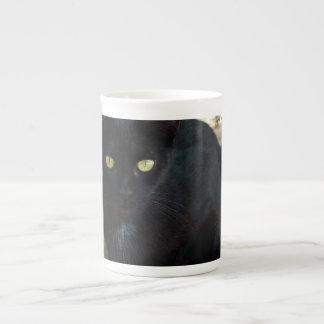 Gato negro de ojos verdes; Ningún saludo Taza De Porcelana